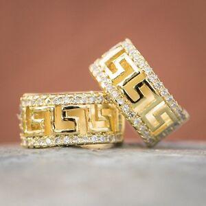 Yellow Gold Plated 925 Sterling Silver Iced  Cz Greek Style Huggie Hoop Earrings