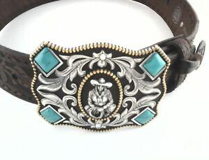 Tony Lama C50638 Cowgirl Western Tooled Leather Belt Turquoise Embellished Sz 30
