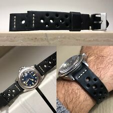 20 mm handmade watch Rally strap genuine black leather for vintage speedmaster