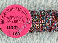 Kreinik Braid #4 042L Optic Opal Metallic Thread Very Fine 11M Cross Stitch