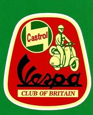 """VESPA CLUB BRITAIN"" MOTOR SCOOTER 1960's Vinyl Decal Sticker LAMBRETTA CASTROL"