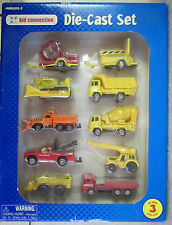 1998 Kid Connection Die-Cast Construction Vehicles Set of 10 Trucks Trailers NIB