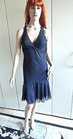 Kleid Abendkleid  Gr. 36 Gr. 38 blau silber funkelnd Netzstoff Raffungen sexy