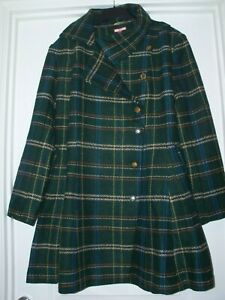 NEW JOE BROWNS Fit n Flare Winter Coat - Green Check - Size UK 16