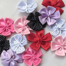 30PCS Ribbon Flowers Bows W/ Dots Appliques Wedding Decor Lots Mix Bulk