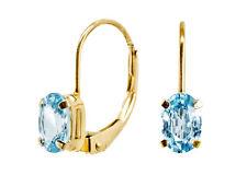 Delicado Clásico Pendientes oro con topacio azul