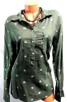 Merona olive green plus lucky elephant patch pockets button cleavage top XXL