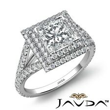 2.6ctw Prong Double Halo Princess Diamond  Engagement Ring GIA I-SI2 w Gold