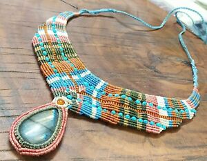 Tribal Macrame Necklace Pendant Jewelry Big Labradorite Stone Handmade Bohemian