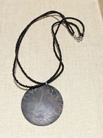 Artisan Etched Wooden Round Pendant Black Seed Bead Multi Strand Necklace