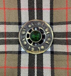 Kilt Fly Plaid Brooch Thistle Design Green Stone Highland Kilt Antique Brooches