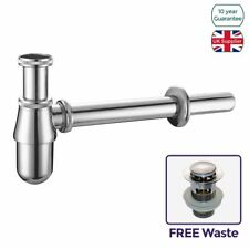 CHROME BOTTLE TRAP WASTE BATHROOM BASIN SINK PIPE + FREE WASTE