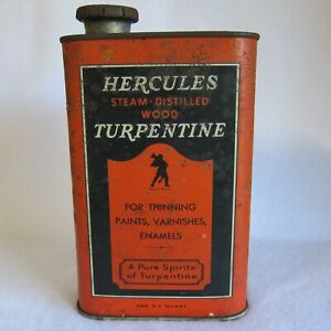 Vtg 1940s Hercules Turpentine Tin 1 Quart Orange Can w Lid approx 4x7x2 in Empty