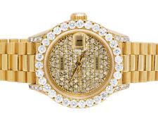 Ladies Rolex 18K Yellow Gold President 26MM Datejust 69178 Diamond Watch 5.0 Ct