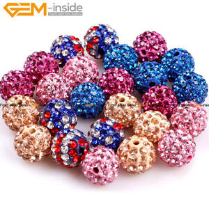 10 Pcs 10mm Pave Zeads CZ Crystal Rhinestone Disco Ball Beads For Jewelry Making