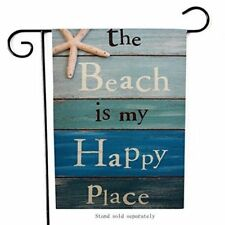 Home Decorative Flags Quote The Beach Is My Happy Place Outdoor Garden Double 18