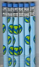 Blue Alien gecko in green circle on blue pencils. Set of 6!