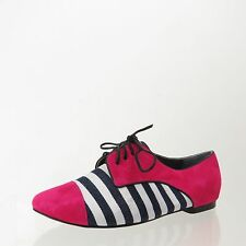 Women's Shoes of Prey Pink White Black Lace Up Oxford Size 35.5 NEW