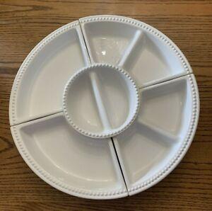 "Certified International Black Lazy Susan White Porcelain Serving Dishes 16 x 16"""