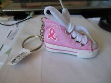 Tennis Shoe Keychain Breast Cancer Awareness**{ Pink Ribbon } *** Free  Shipping