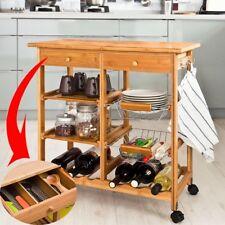 SoBuy® Desserte Roulante,Chariot cuisine  en Bambou, Kitchen Trolley FKW06-N FR