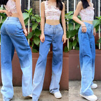 ❤️ Womens Gradient Casual Baggy Jeans Straight Denim Pants Ladies Long Trousers