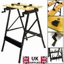 Folding Workbench Wooden Bench Worktop Clamping Portable Workshop Table 100kg