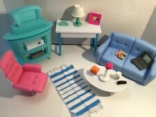 Barbie Living Room Set Furniture Sofa Chair Table Lamp TV Accessories