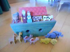 Hand Painted Noah's Ark wood plus cows horses giraffes camels lions elephants