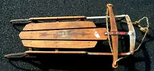 """antique flexible flyer sled, 42"""", gently used, steel frame, collectors item"""