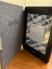 AMAZON KINDLE PAPERWHITE E-READER & PURPLE CASE - 6th GENERATION -FREE SHIPPING