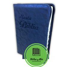 BIBLIA REINA VALERA 1960 LETRA GRANDE CON INDICE Y CIERRE AZUL FLORAL