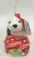 Vintage 1999 Coca Cola Christmas Xmas Holiday Plush Ornament White Polar Bear