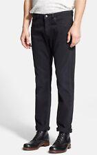 Levis Made & Crafted Nero Ago Stretto Affusolato Jeans Slim Zip W33 L33 £ 215 NUOVO