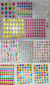 10 x Children reward stickers teachers Heart Emoji face stars numbers, scrapbook