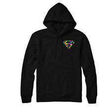 Autism Superman Embroidered Hoodie, Awareness Pride Hero Gift Hoodie Top