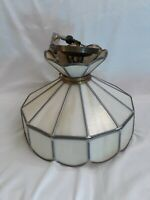 """Stunning Vintage White Shell Hanging Chandelier Decor Light Aprox 14"""" Across"""