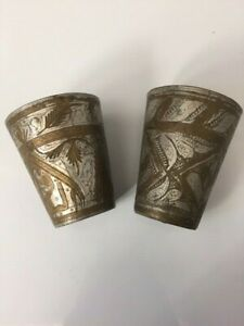 2 VINTAGE ENGRAVED BRASS SILVER COLOR LASSI CUPS FROM INDIA