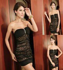 Sz 12 14 Black Leopard Strapless Bandeau Club Formal Race Dance Chic Mini Dress