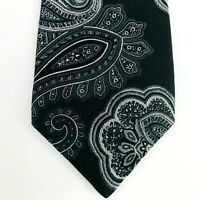 Nordstrom Silk Tie Gorgeous Black on Black Paisley Made in USA