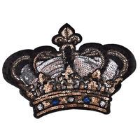Large Crown Patch Badge Cartoon Sequin Iron On Sewing On For Clothes Stickers RS