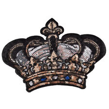 Large Crown Patch Badge Cartoon Sequin Iron On Sewing On For Clothes Stickers BR