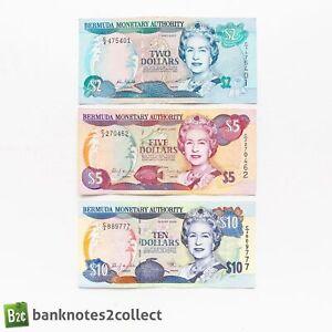 BERMUDA: Set of 3 Bermuda Dollar Banknotes.