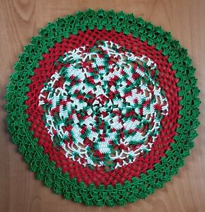 """Christmas Pinwheel Doily 11.5"""" - Hand Crocheted  -  **NEW** - Lone Star Lace"""