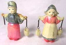 Vintage 1930's Celluloid Dutch Water Boy and Girl Buckets on Chains 1 missing