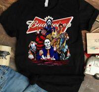 Halloween Horror Characters Budweiser Classic Black T Shirt. Best Halloween Gift