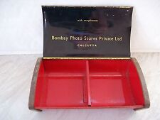 More details for vintage metal bombay photo stores private limited, calcutta tin with chequered..