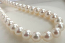 """AAA+ 9-10MM PERFECT WHITE ROUND SOUTH SEA PEARL LOOSE BEADS 15"""""""
