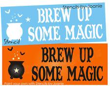 Joanie Halloween Stencil Brew Up Magic Witch Cauldron Bat Prim Fall Holiday Sign