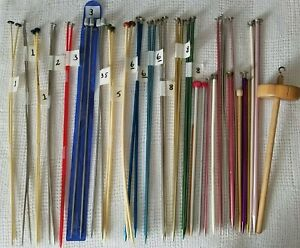 Handmade Drop Spindle Top Whorl Wooden Yarn Spinner & Knitting Needles Lot of 43